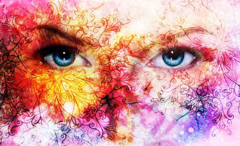 Mooie blauwe vrouwenogen, kleureneffect, het schilderen collage, violette make-up en ornamenten stock illustratie