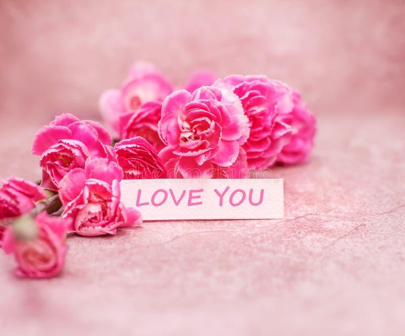 Mooie bloeiende anjerbloemen met Liefde u die op wh verwoorden royalty-vrije stock foto's