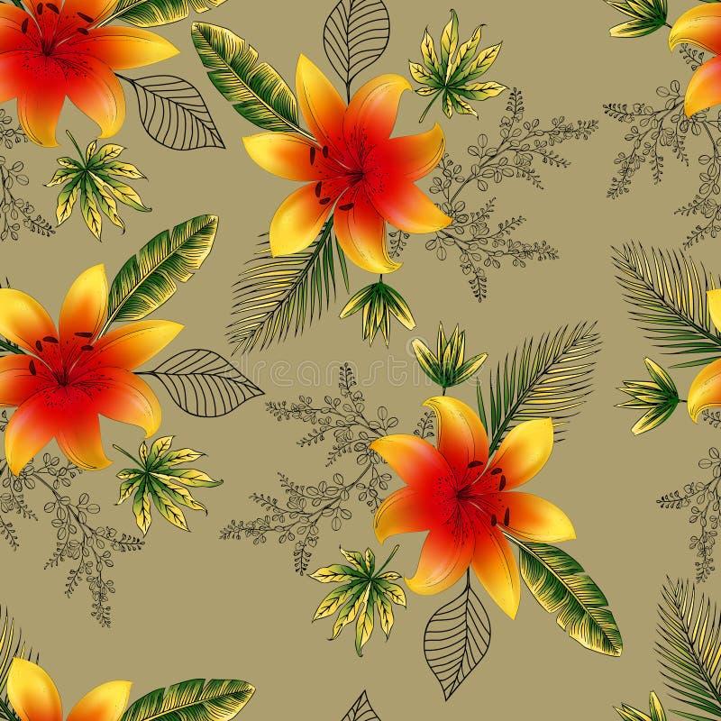 Mooie bloem en takken met blad naadloos patroon vector illustratie