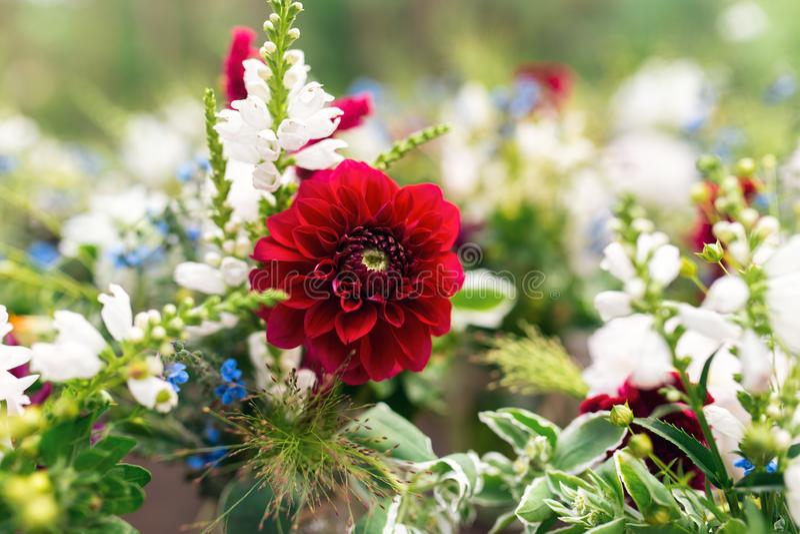 Mooie bloemdecoratie voor de huwelijksceremonie Wit en rood royalty-vrije stock foto's