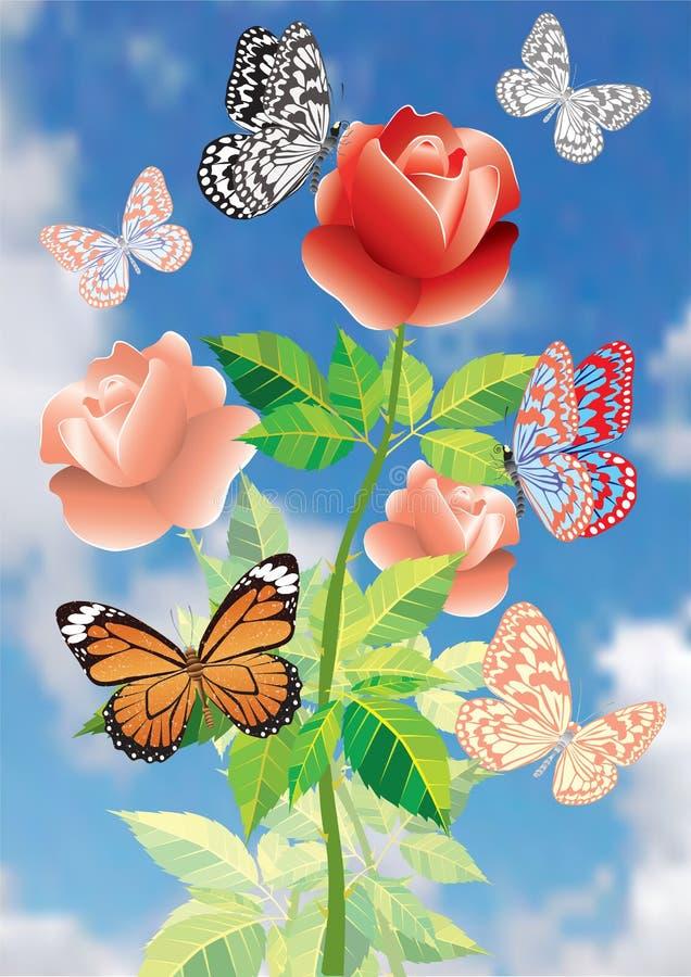 Download Mooie bloemen en vlinders. vector illustratie. Illustratie bestaande uit vlinder - 10782254