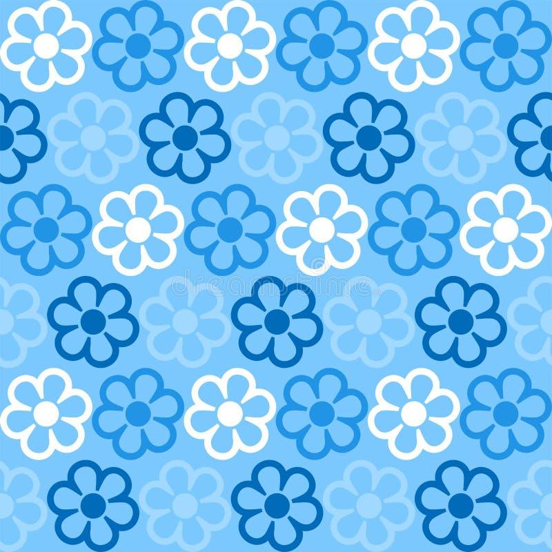 Mooie bloemen op een blauwe achtergrond in een patroon stock illustratie