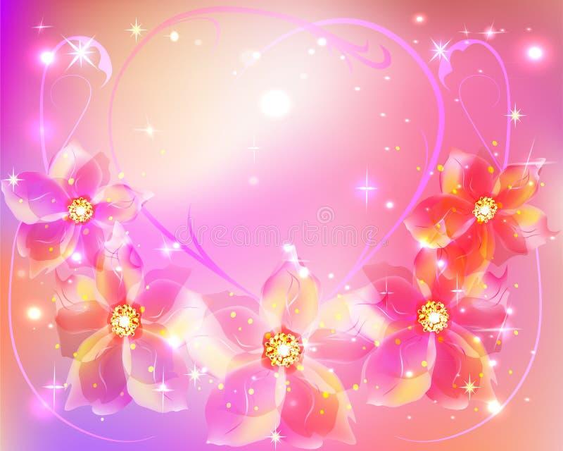 Mooie bloemen roze achtergrond stock illustratie