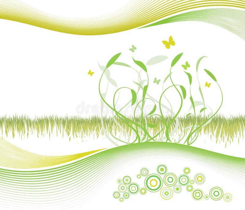Mooie bloemenachtergrond met modern gevoerd art. stock illustratie