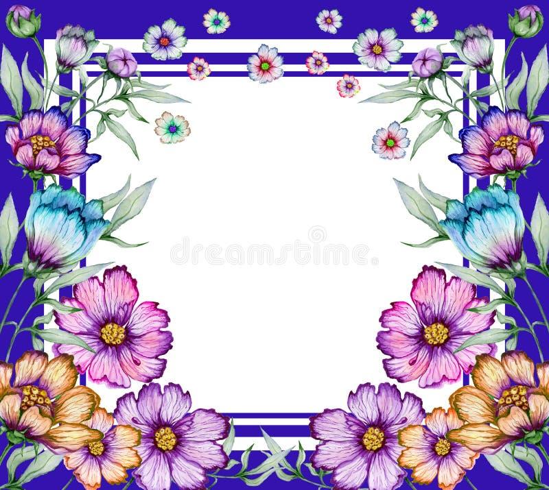 Mooie bloemengrens Kleurrijke kosmosbloemen met groene bladeren op witte achtergrond Vierkant blauw kader met ruimte voor een tek stock illustratie