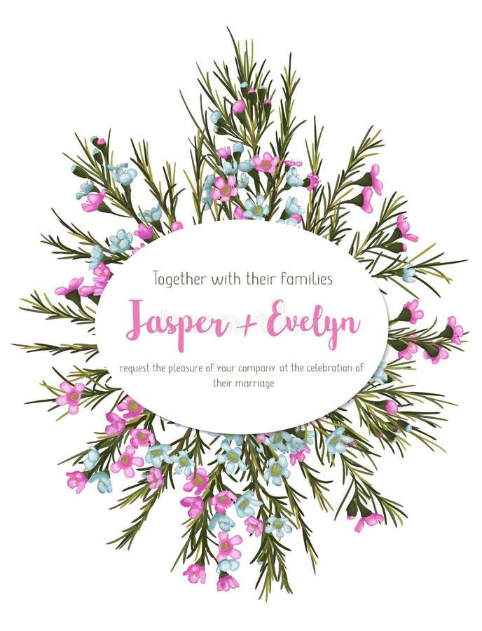 Mooie bloemengroetkaart, huwelijksuitnodiging, banner, labe royalty-vrije illustratie