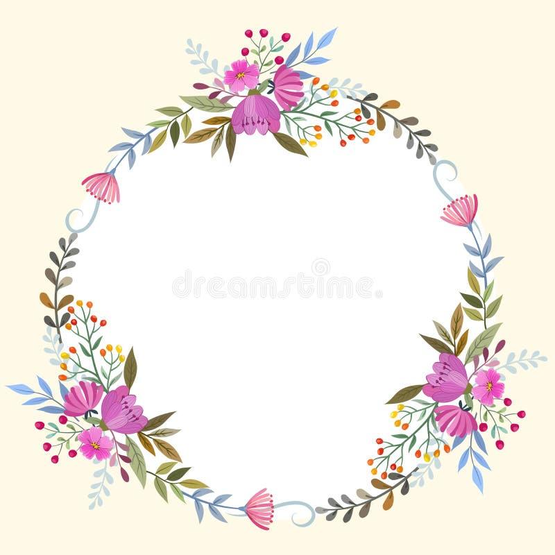 Mooie bloemenkroon voor kaart royalty-vrije illustratie