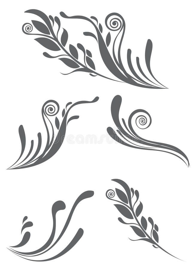 Mooie bloemenornamentelementen stock illustratie