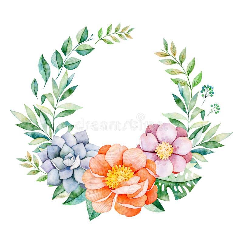 Mooie bloemenpastelkleurkroon met pioen, bloem, bladeren, tropische bladeren stock illustratie