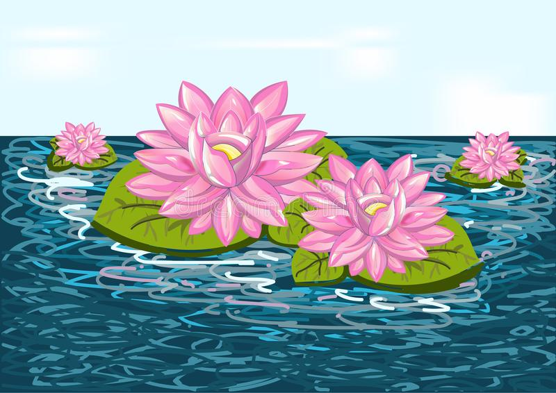 Mooie bloemlelie op blauw water - vectorillustratie royalty-vrije illustratie