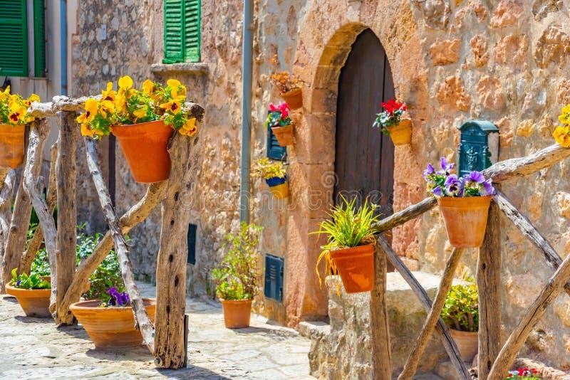 Mooie bloempotten, kleurrijke bloemen in Spaans dorp Valldemossa, Mallorca stock foto