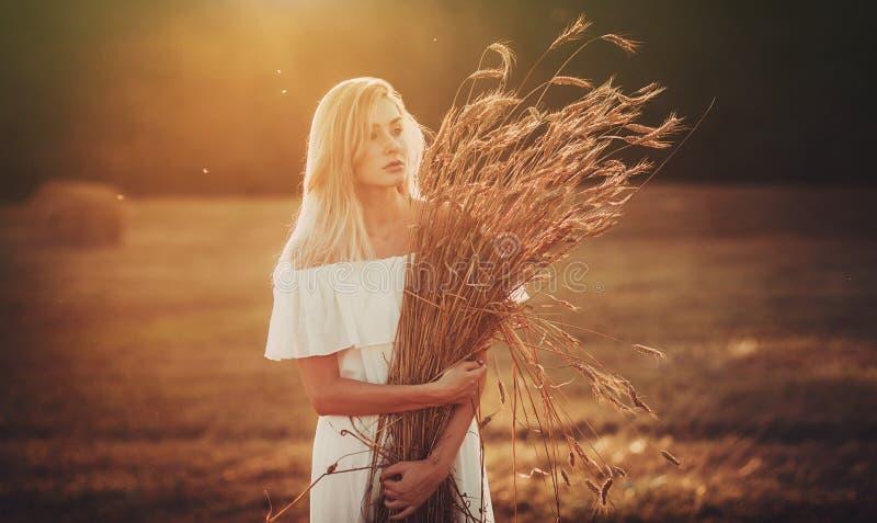 Mooie blond op gebied stock fotografie