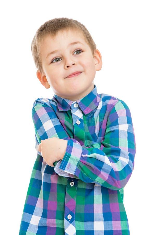 Mooie blond weinig jongen royalty-vrije stock afbeelding