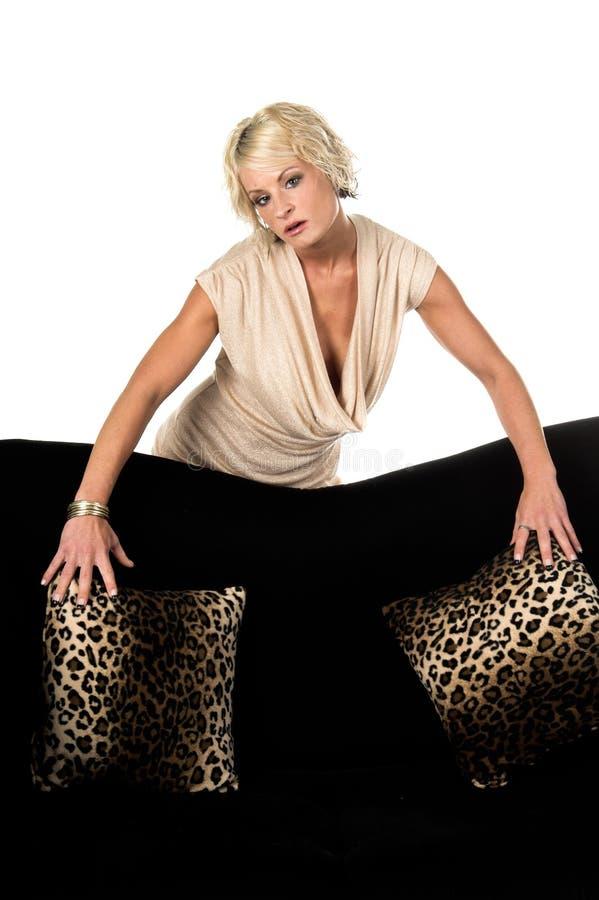 Mooie Blonde achter Laag stock afbeeldingen