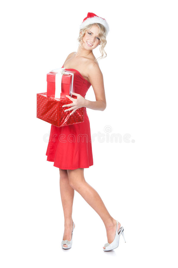 Mooie blonde de holdingsgiften van de Kerstmisvrouw stock foto