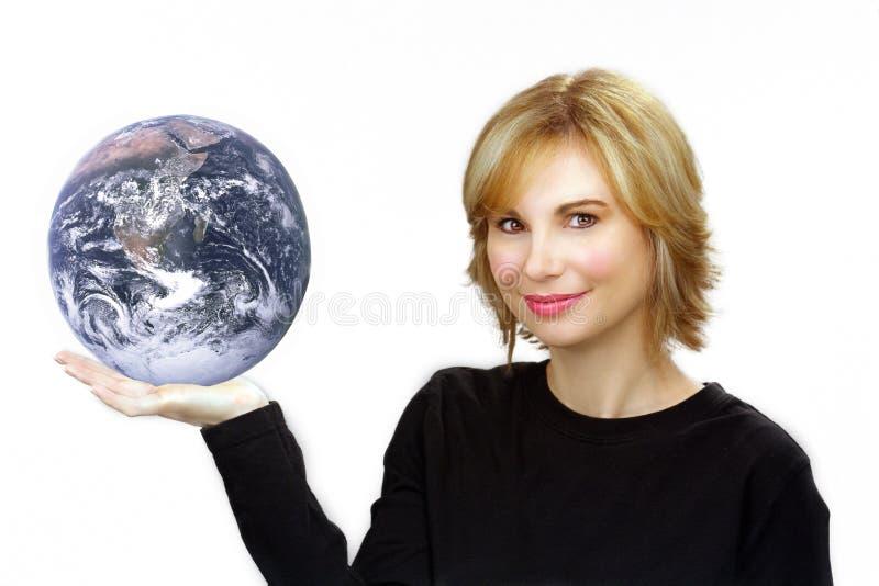 Mooie Blonde die de Aarde houdt royalty-vrije stock afbeeldingen