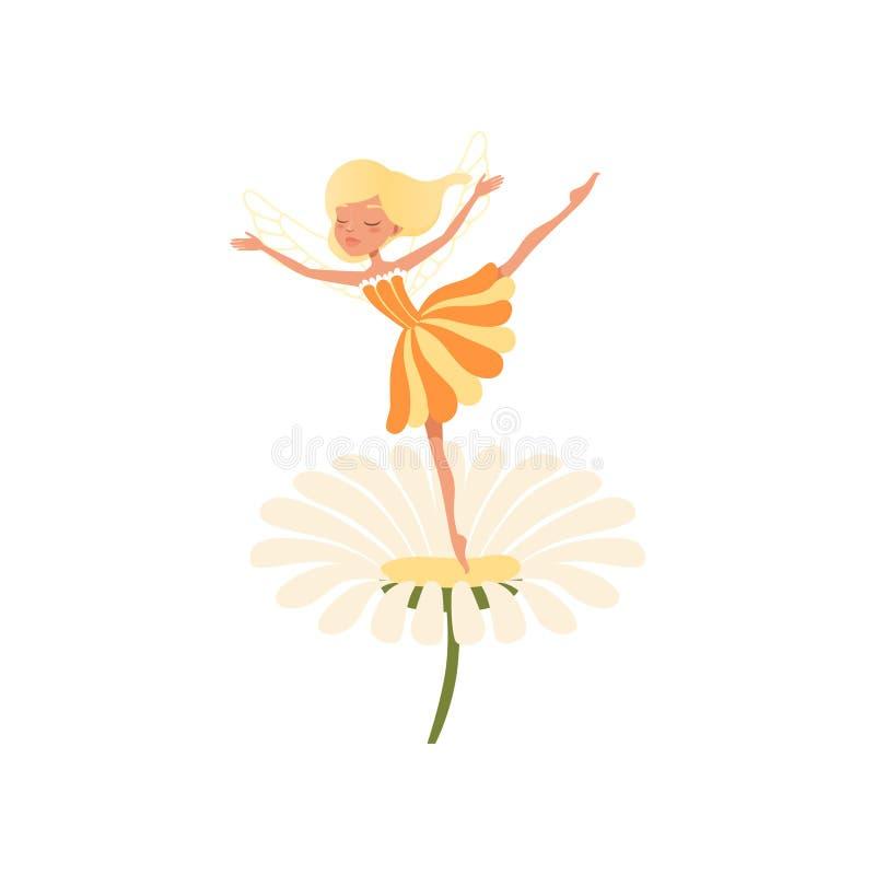 Mooie blonde fee die op madeliefjebloem dansen Denkbeeldig fairytalekarakter met kleine magische vleugels Meisje die behandeling  royalty-vrije illustratie