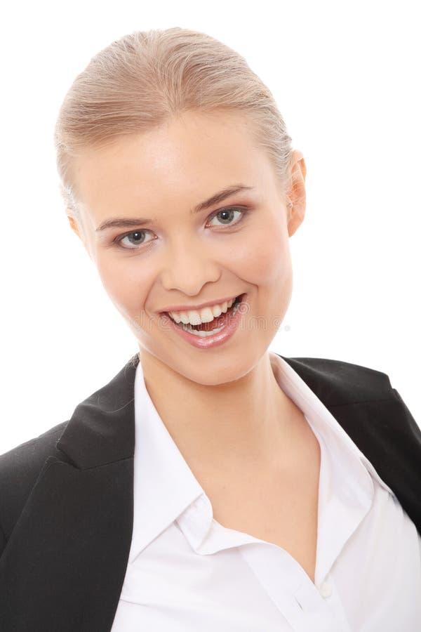 Mooie blonde Kaukasische onderneemster stock foto