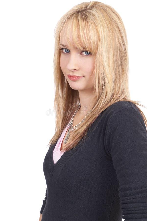 Mooie blonde onderneemster stock afbeeldingen