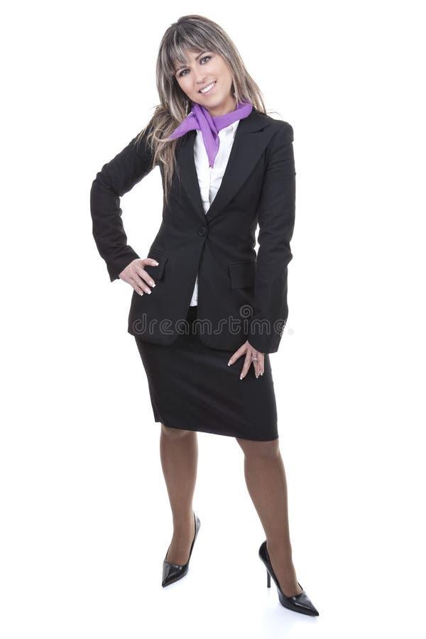 Mooie blonde onderneemster die formeel kostuum draagt stock fotografie