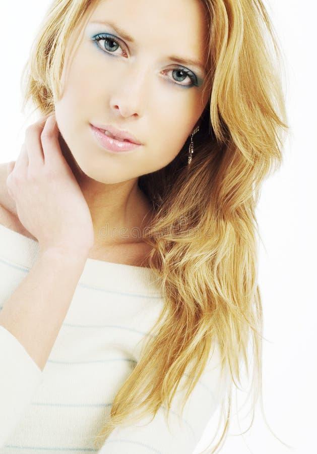 Mooie Blonde in Wit royalty-vrije stock foto