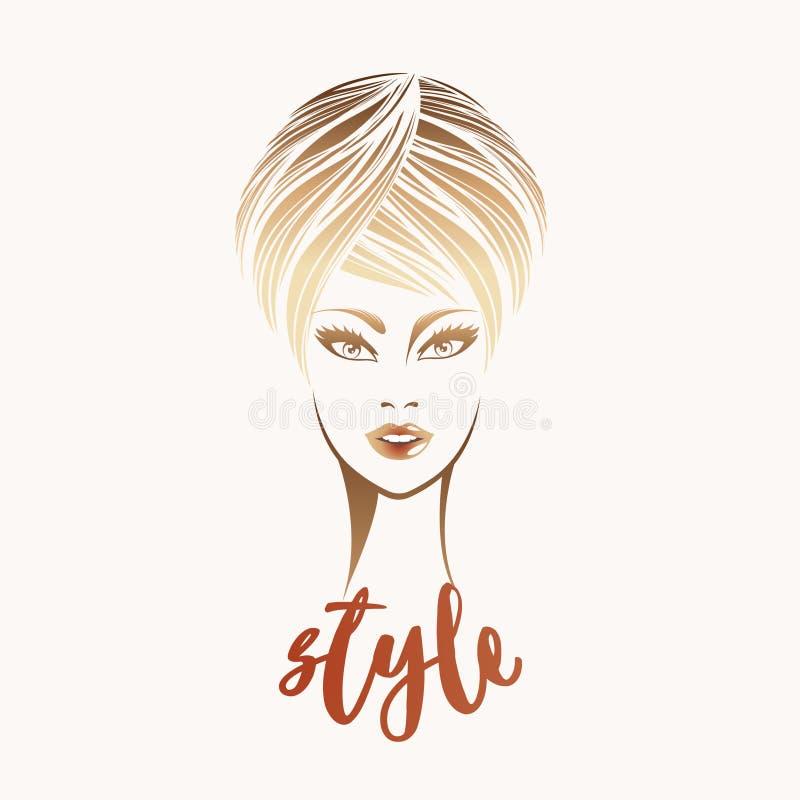 Mooie blondevrouw met verfijnd kapsel en gewaagde make-up stock illustratie