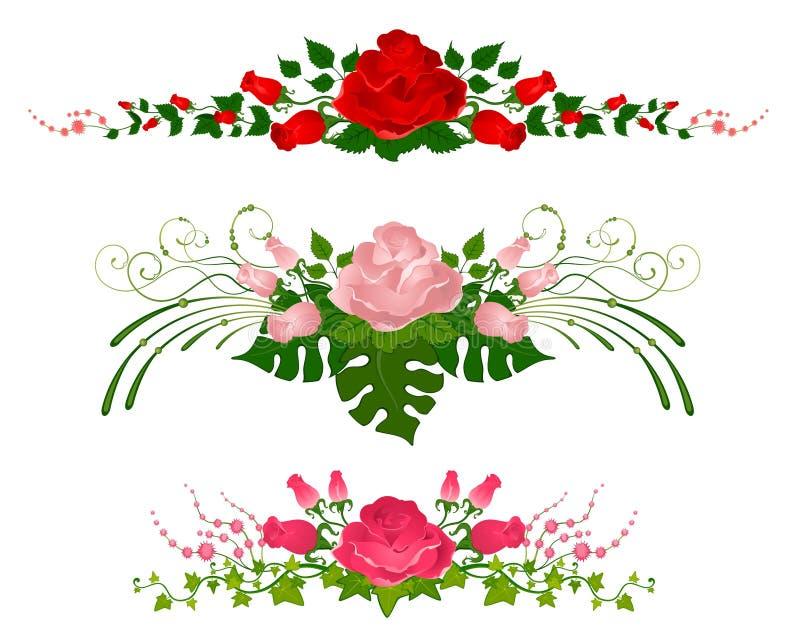 Mooie boeketten van rozen stock illustratie