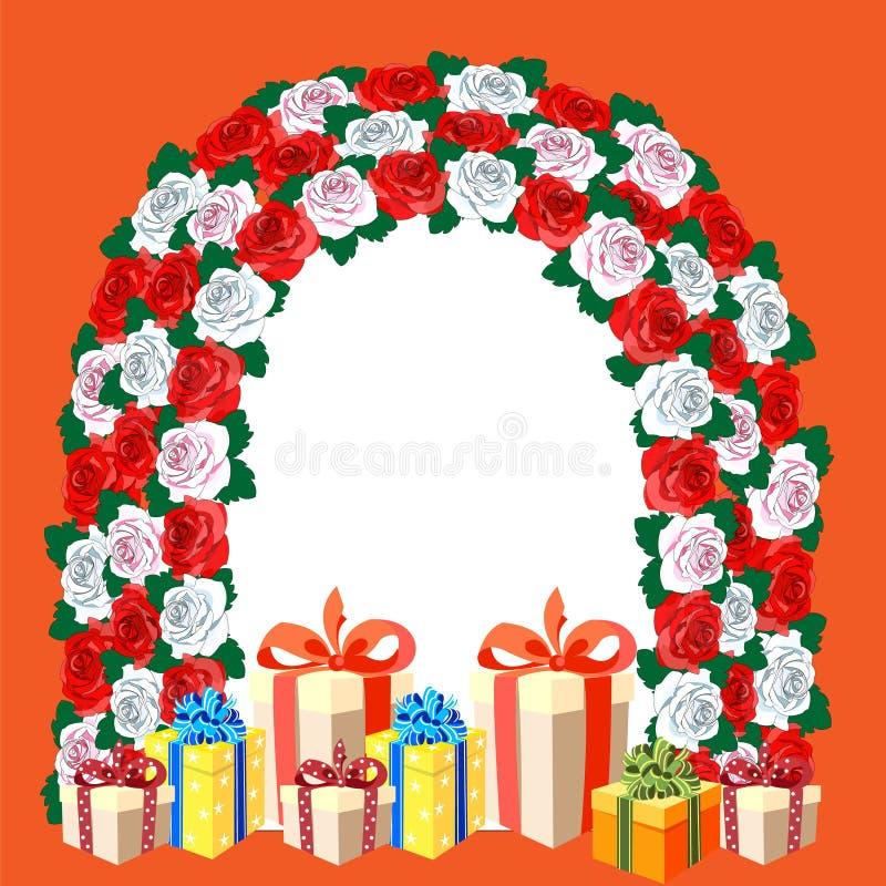 Mooie boog van bloemen Witte, roze, rode rozen Giftdozen met heldere bogen en linten Bloemen patroon royalty-vrije illustratie