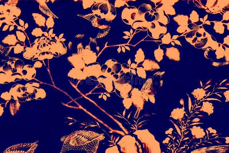 Mooie boomvogel en van de bloemenkunst achtergrond en het behang van het schilderijen de kleurrijke roze purpere groene oranje wi stock foto