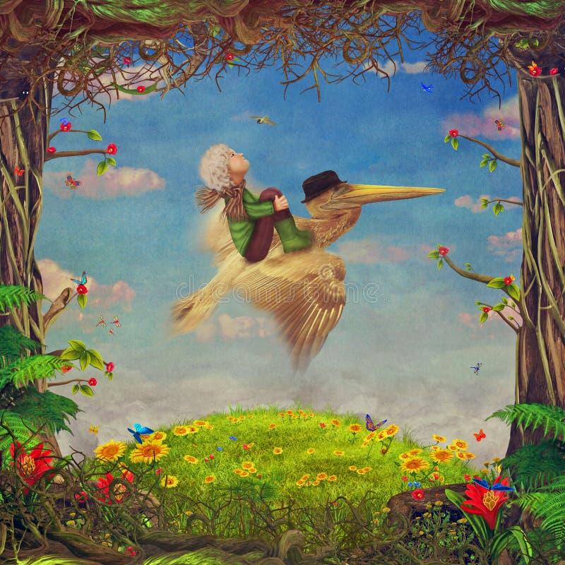 Mooie bosscène met weinig jongen en bruine pelikaan in hemel royalty-vrije illustratie