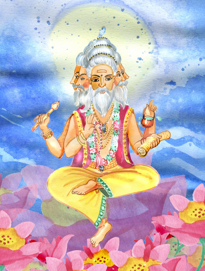 Mooie Brahma-zitting op de lotusbloembloem stock illustratie