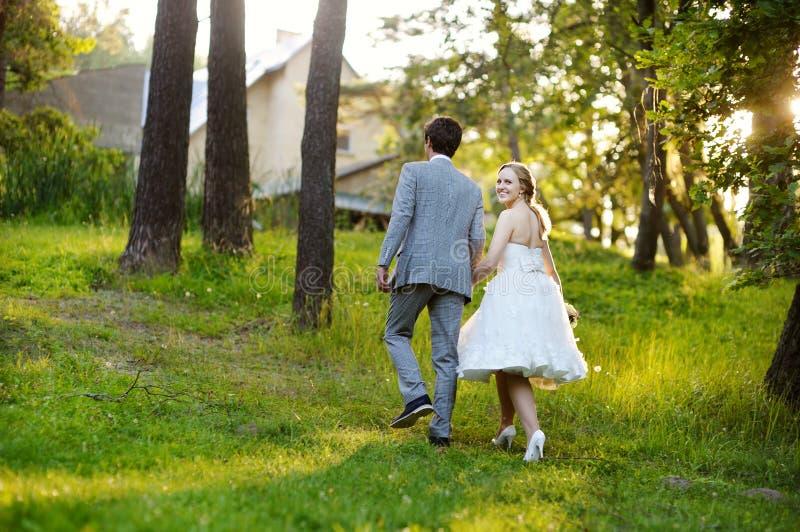 Mooie bruid en bruidegom in een park royalty-vrije stock fotografie