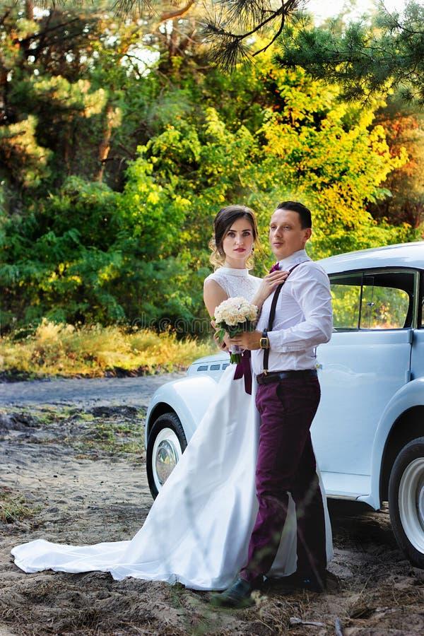 Mooie bruid en bruidegom in mooie uitrustingen met een auto royalty-vrije stock afbeelding