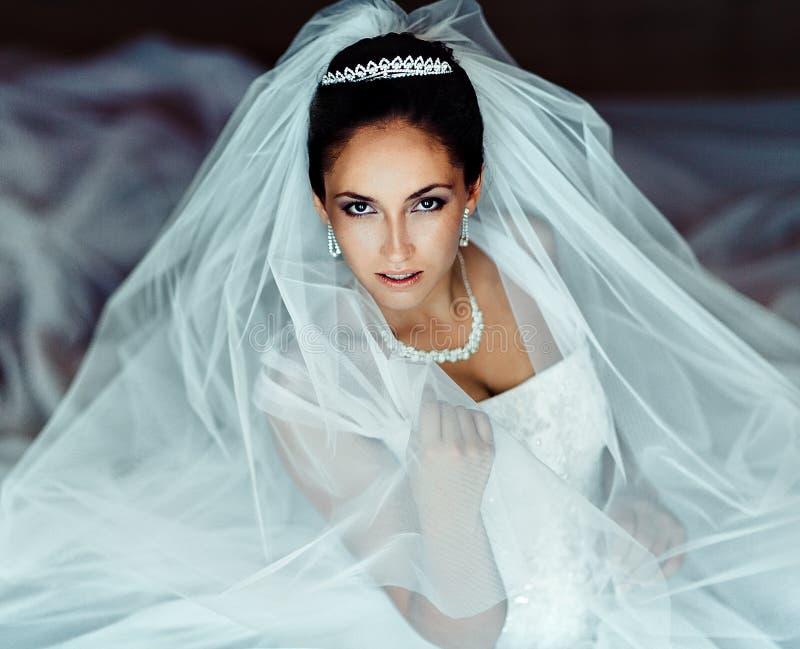 Mooie Bruid Het huwelijkskapsel en maakt omhoog royalty-vrije stock afbeeldingen