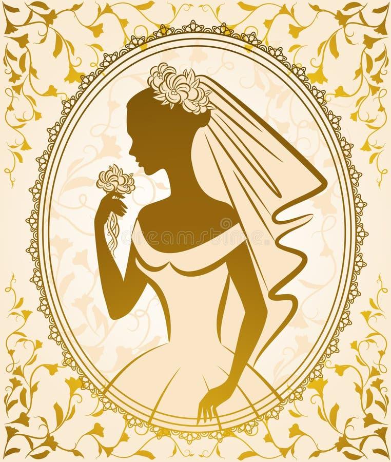 Mooie bruid in kleding. stock illustratie