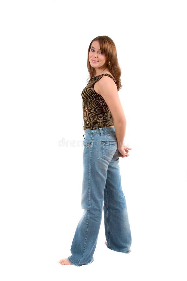 Mooie brunette; volledige bodyshot stock foto's
