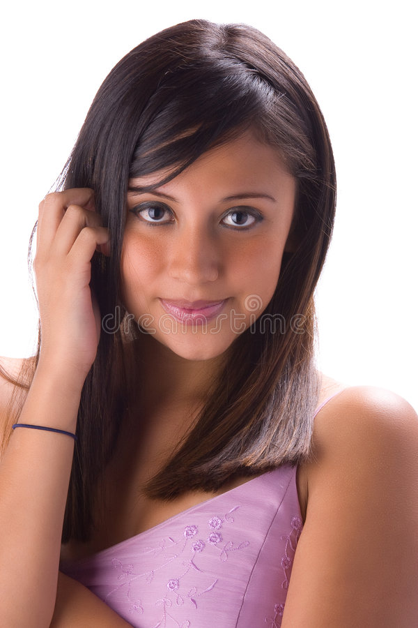 Mooie brunette in wit 4 stock fotografie