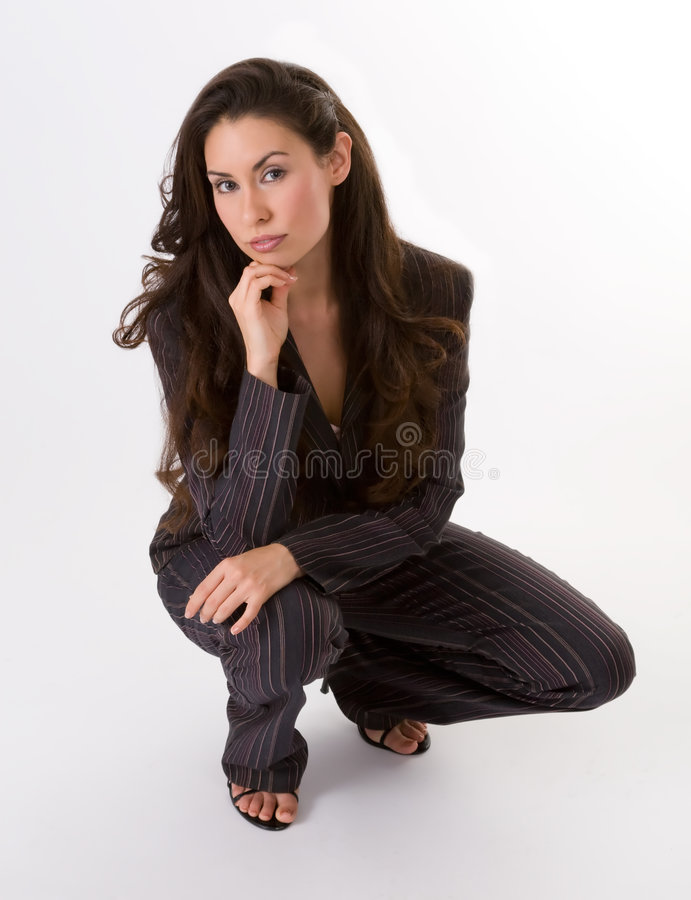 Mooie Brunette in Zaken royalty-vrije stock afbeelding