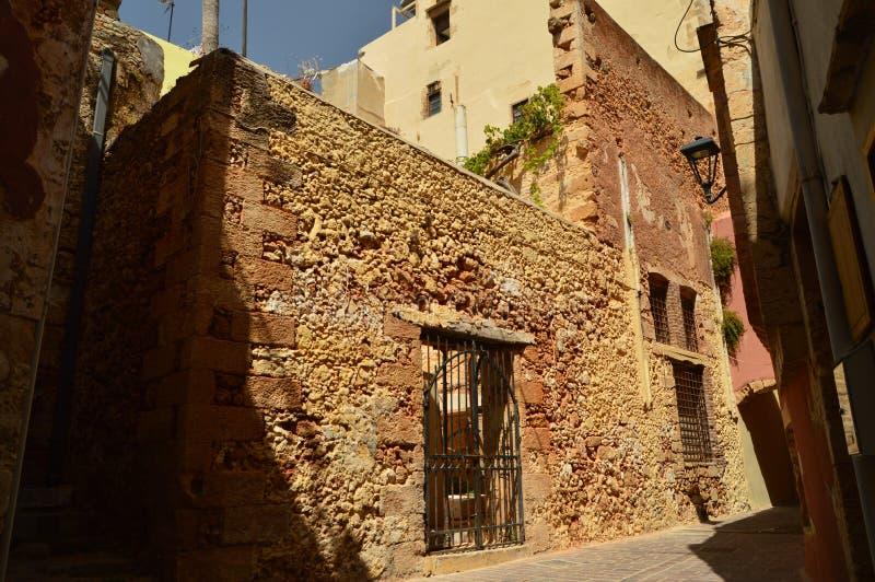 Mooie Byzantijnse Stijlhuizen in Chania De Reis van de geschiedenisarchitectuur stock foto