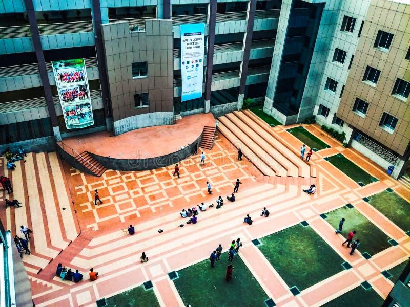 Mooie Campus, Onafhankelijke Universiteit, Bangladesh stock foto