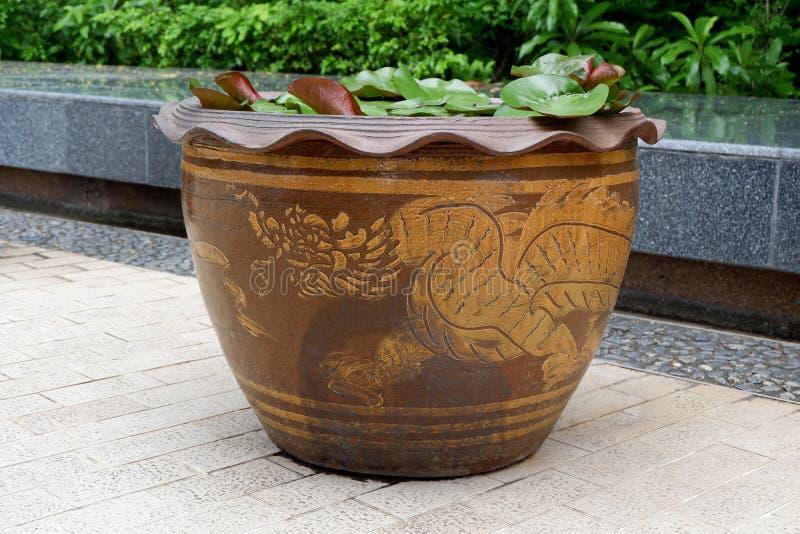 Mooie Chinese Dragon Lotus Pot in de Tuin royalty-vrije stock afbeelding