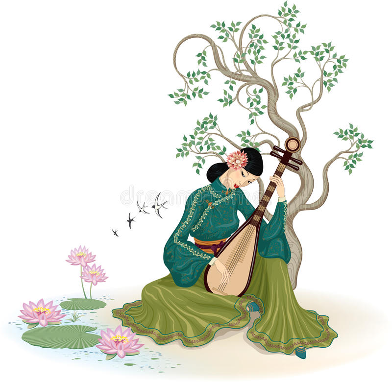 Mooie Chinese vrouw die pipa speelt royalty-vrije illustratie