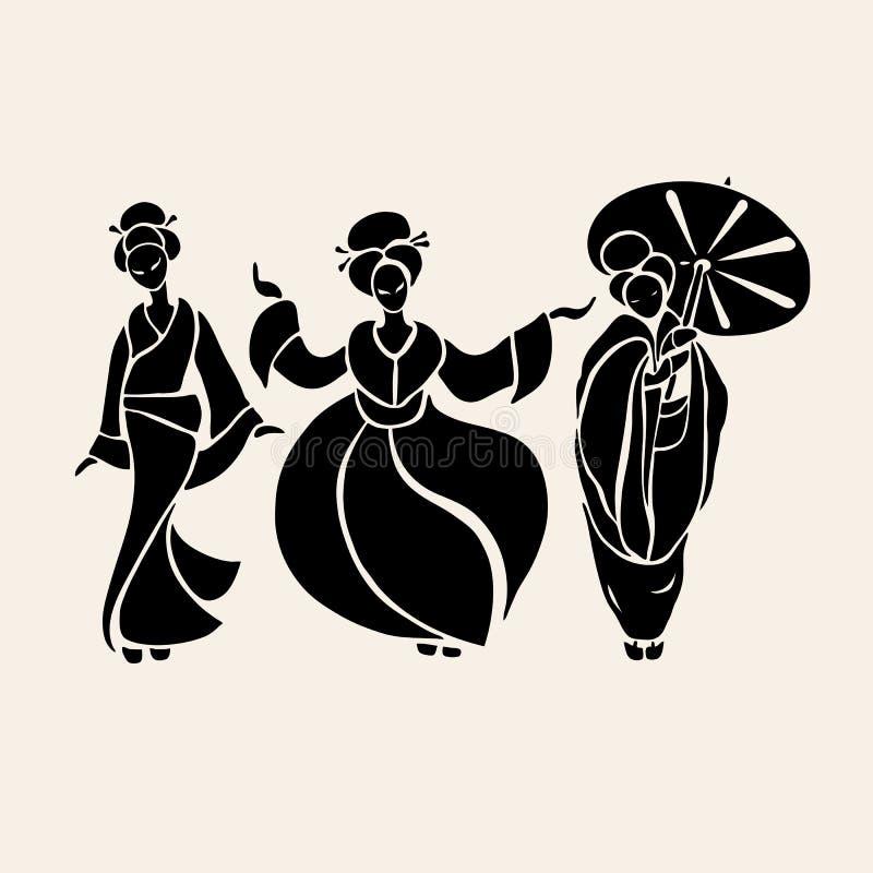Mooie Chinese vrouwen stock illustratie