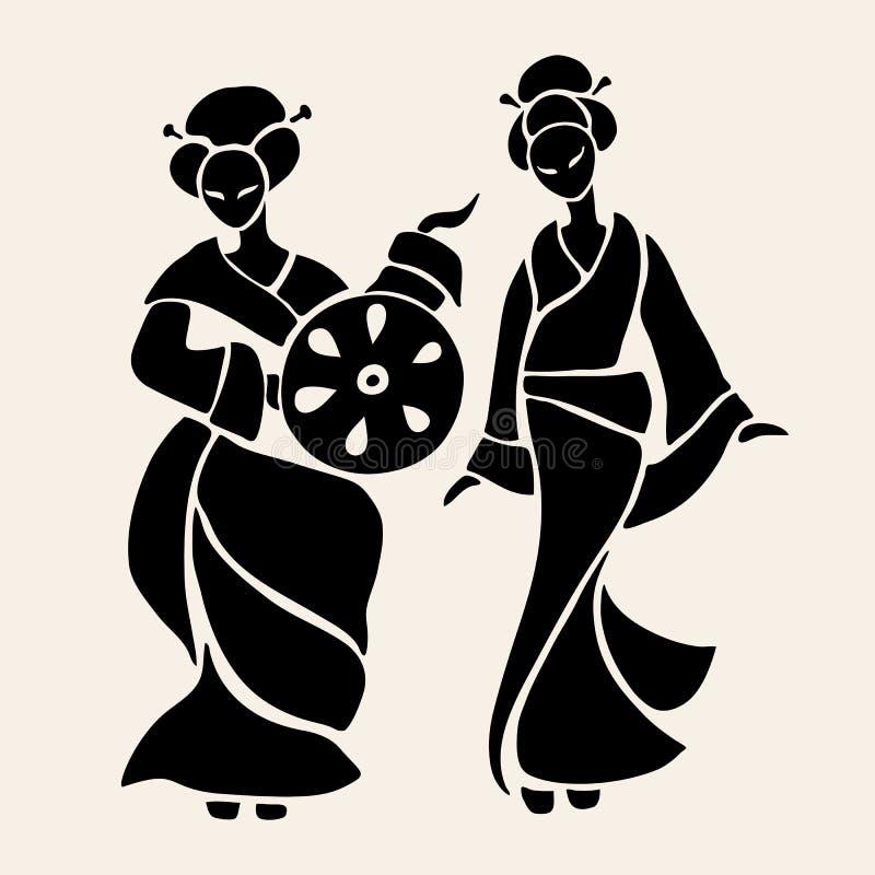 Mooie Chinese vrouwen vector illustratie