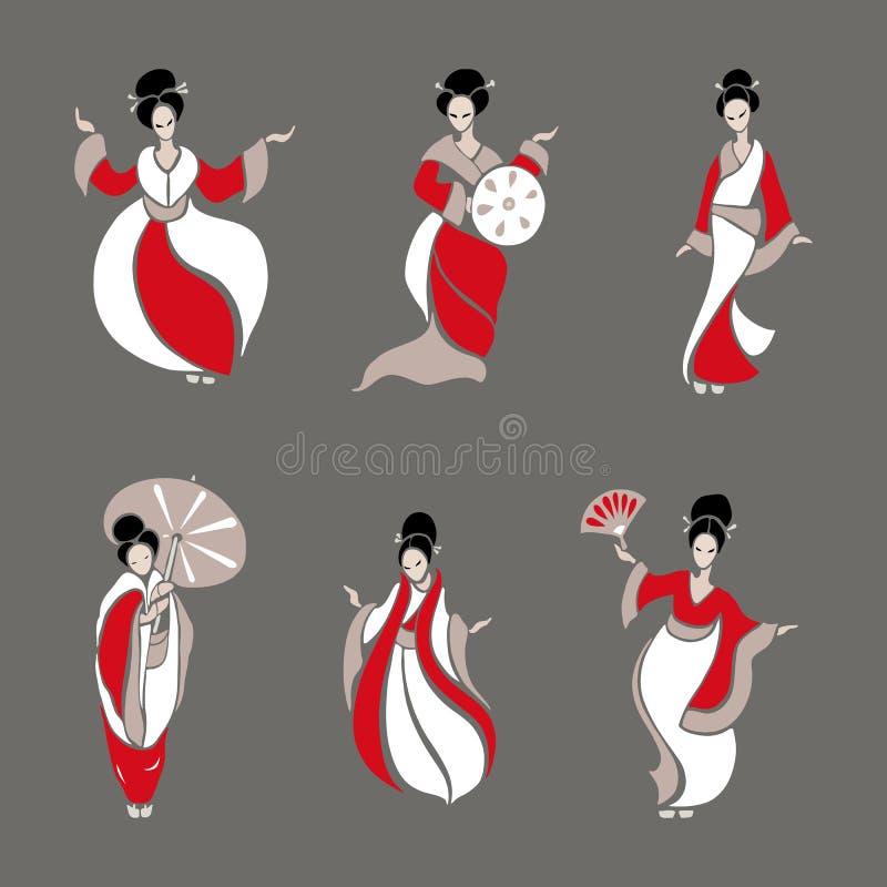 Mooie Chinese vrouwen royalty-vrije illustratie