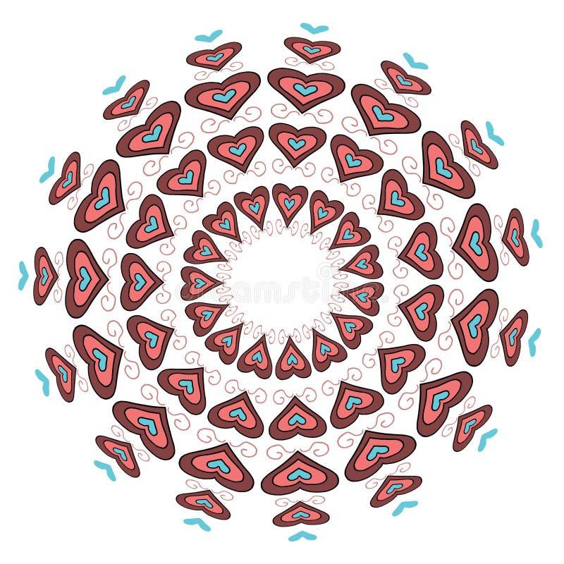 mooie cirkelcirkel van harten, liefde van roze cijfers aangaande een witte achtergrond royalty-vrije illustratie