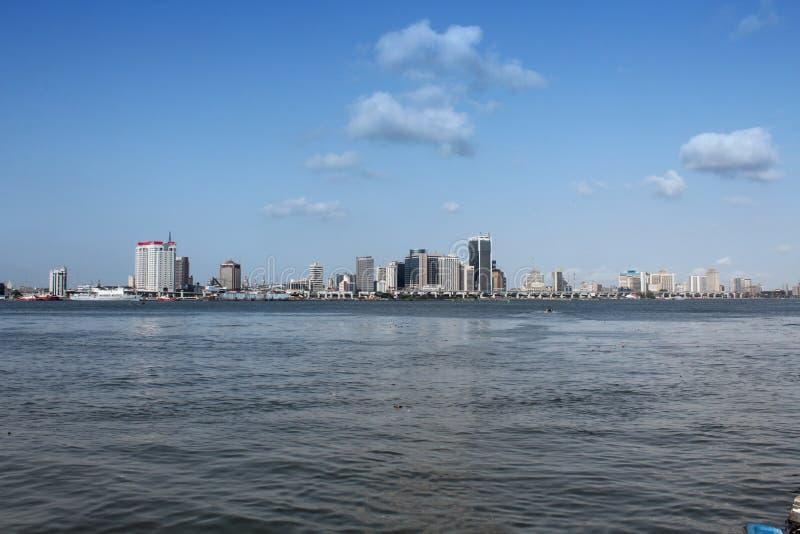 Mooie cityscape & de kustlijn van Lagos royalty-vrije stock foto