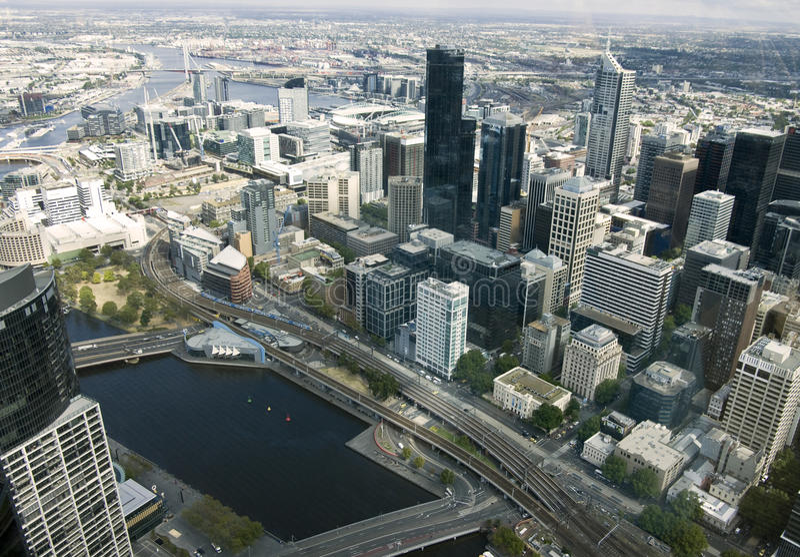 Mooie cityscape van Melbourne, Australië. Lucht mening van sk royalty-vrije stock afbeelding
