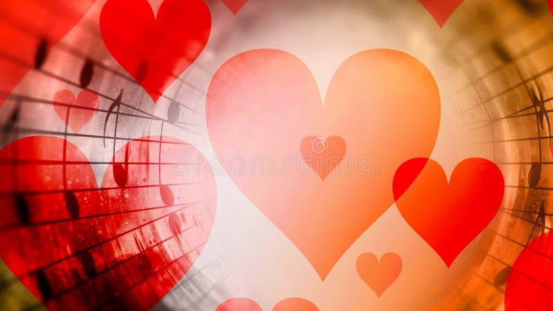 Mooie collage met harten en muzieknota's in kosmische ruimte, die de liefde symbolizining aan muziek royalty-vrije illustratie