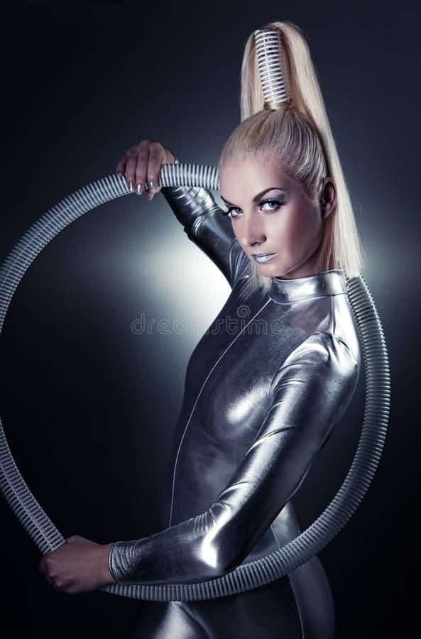 Mooie cybervrouw stock foto